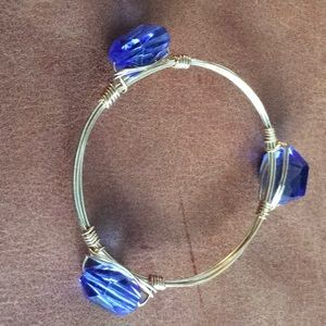 Bourbon and Bowties Blue Crystal Bracelet